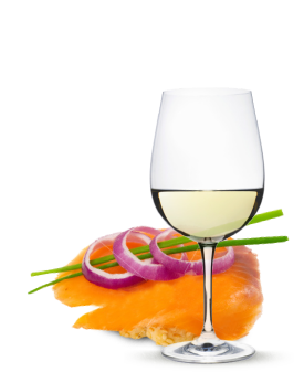 A Glass of Wine and Salmon